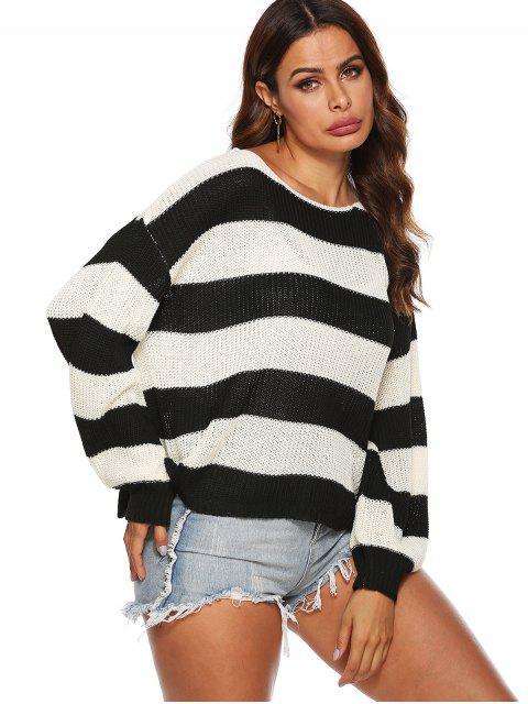 buy Drop Shoulder Loose Colorblock Stripes Sweater - MULTI XL Mobile
