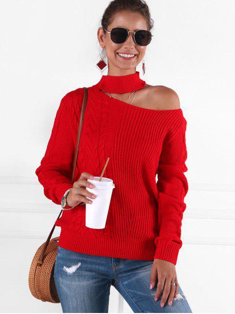 unique Cable Knit Mock Neck Cutout Sweater - RED L Mobile