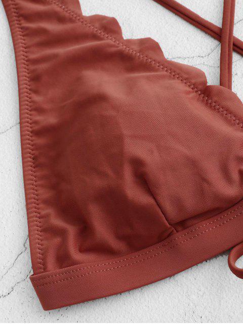 ZAFUL縱橫交錯的扇形比基尼泳裝 - 栗子紅 S Mobile