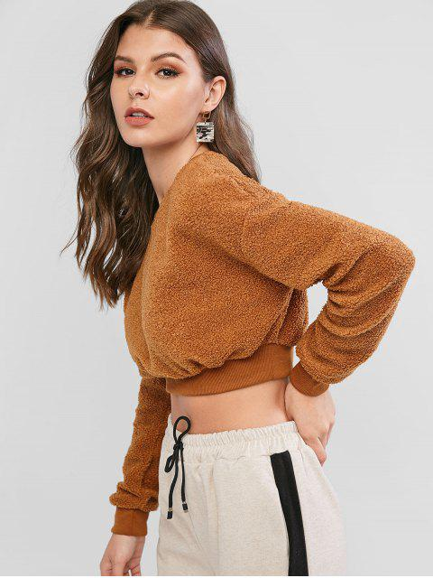 ZAFUL Flauschige Fallschulter Crop Teddy Sweatshirt - Braun XL Mobile