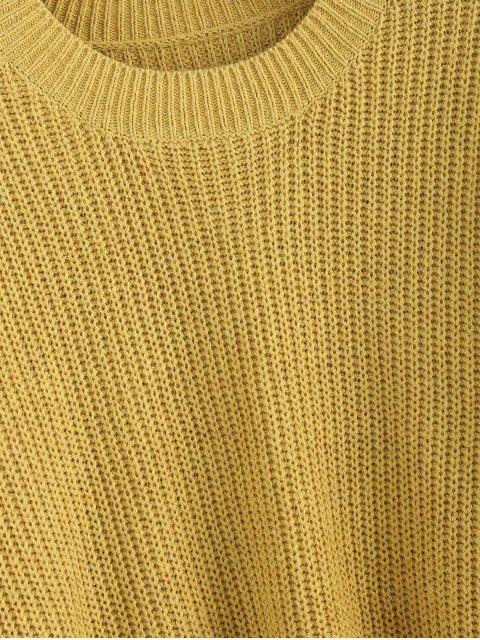 ZAFULフリンジドロップショルダーゆったりセーター - ゴールデンロード L Mobile
