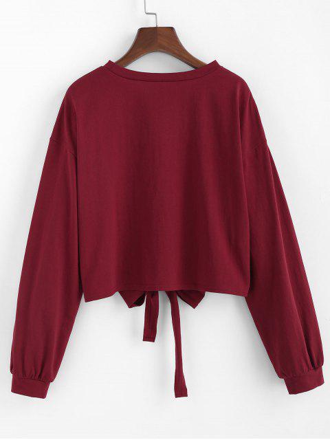 ZAFUL Bowknot Fallschulter Crop Sweatshirt - Roter Wein S Mobile
