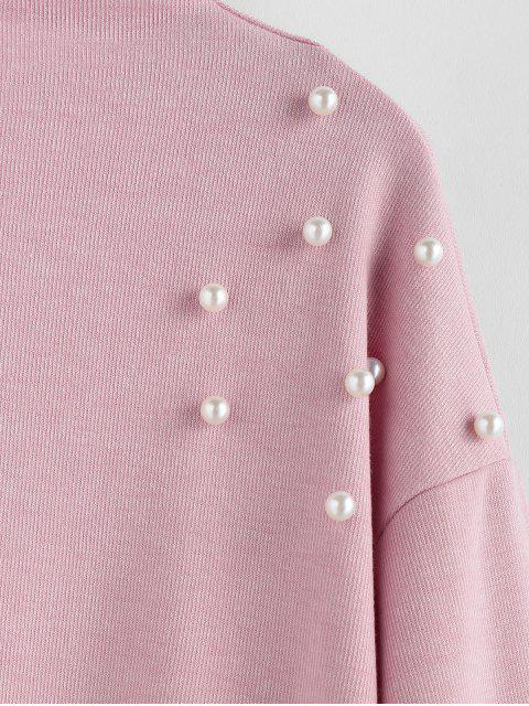 fancy ZAFUL Faux Pearl Embellished Drop Shoulder Boat Neck Sweatshirt - PINK S Mobile