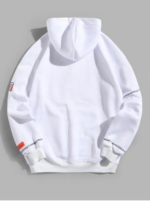 shop ZAFUL American Flag Patched Drawstring Pocket Hoodie - WHITE M Mobile