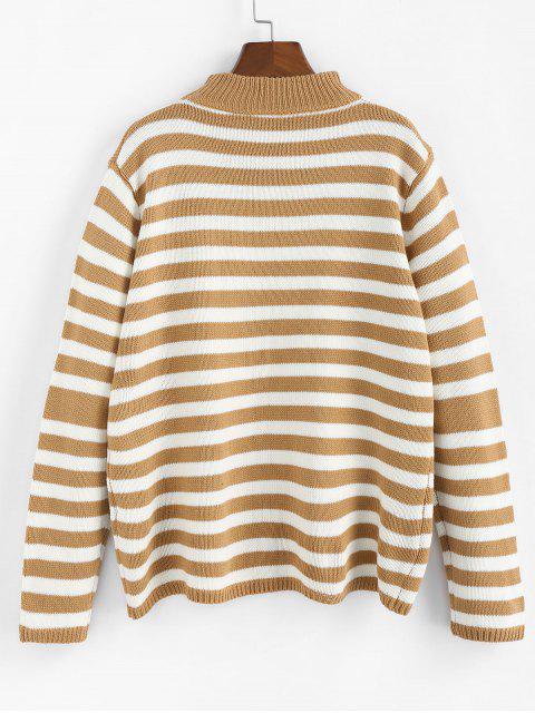 online ZAFUL Striped Mock Neck Loose Sweater - BROWN SUGAR M Mobile