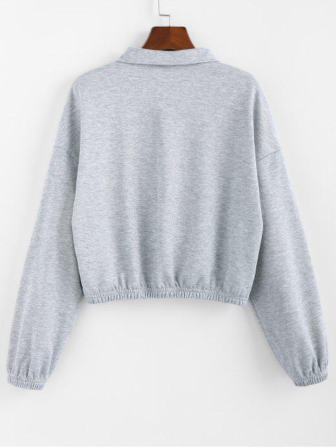 ZAFUL Känguru-Tasche mit Reißverschluss Tropfen Schulter Sweatshirt - Hellgrau XL Mobile