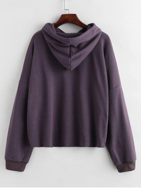 落肩磨損的連帽衫 - 紫色 One Size Mobile