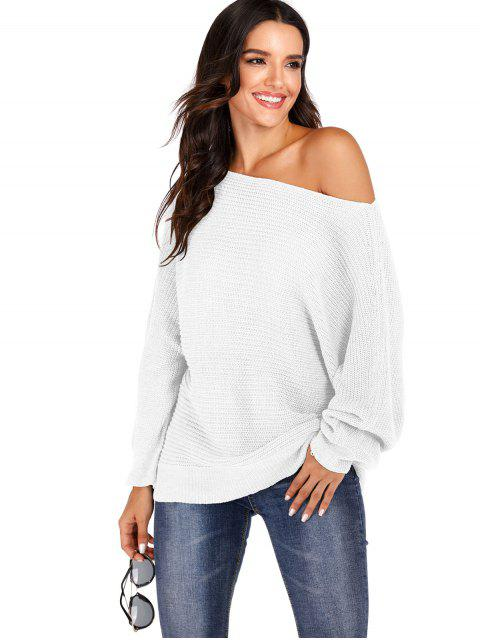 shop Convertible Collar Batwing Sleeve Pullover Sweater - WHITE M Mobile