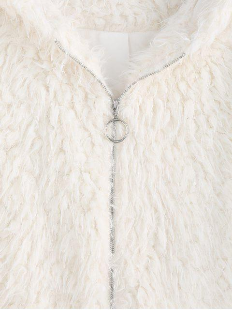 ZAFUL仿羊皮連帽拉鍊蓬鬆外套大衣 - 水晶霜 L Mobile