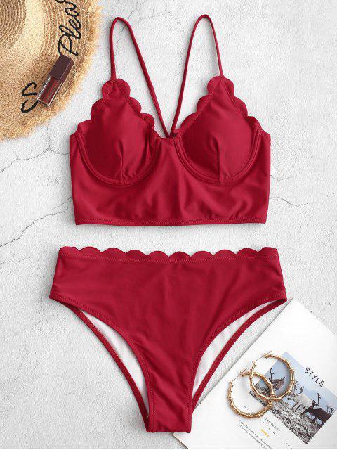 ZAFUL festoneado con cordones con aros de Tankini del traje de baño - Rojo Lava S Mobile
