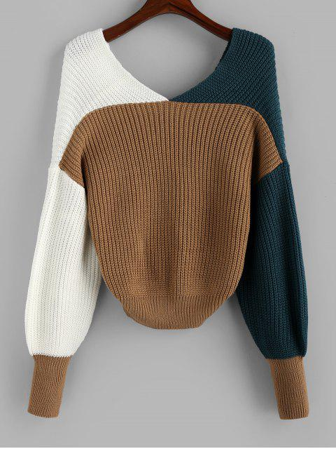ladies Plunge Colorblock Twist Sweater - MULTI-A S Mobile