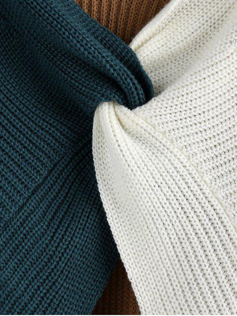 best Plunge Colorblock Twist Sweater - MULTI-A L Mobile