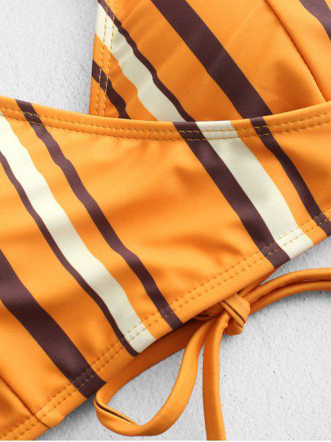 ZAFUL rayada Sobrepelliz alta corte del cordón de Tankini del traje de baño - Negro XL Mobile