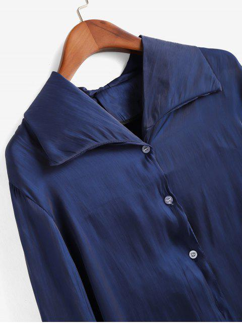 sale Shiny Fitted Shirt - DEEP BLUE M Mobile