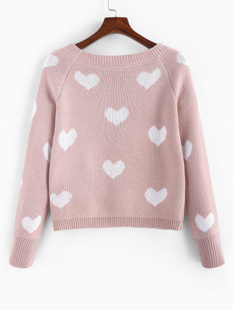 outfit ZAFUL Heart Graphic Raglan Sleeve Textured Sweater - ROSE S Mobile