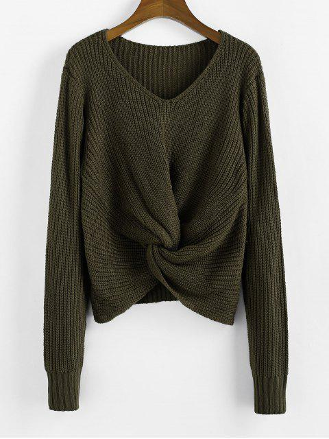 ladies Twist V Neck Pullover Sweater - ARMY GREEN L Mobile