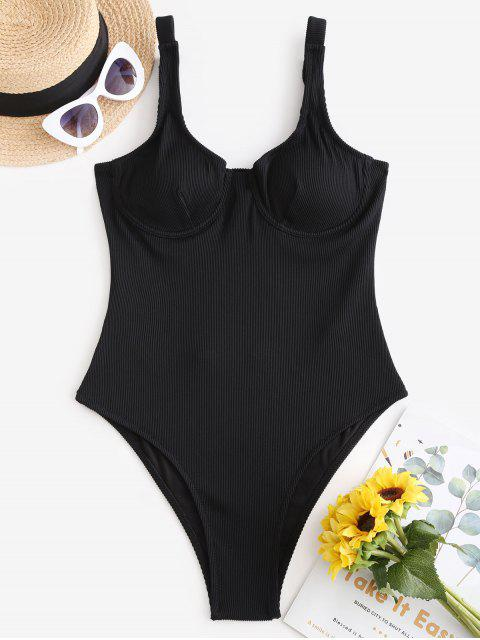 ZAFUL質感羅紋鋼絲單件泳裝 - 黑色 M Mobile