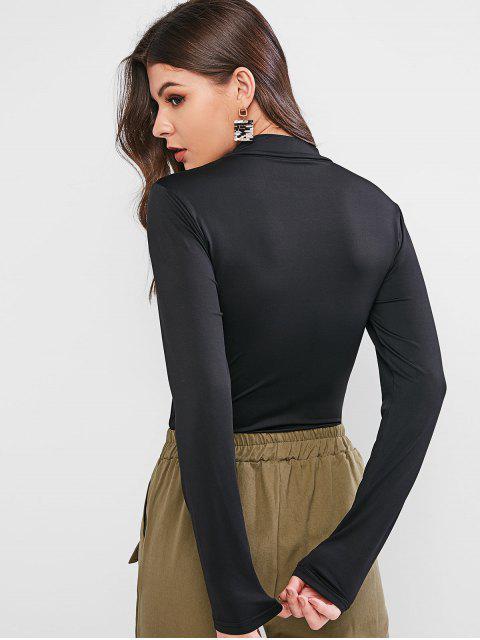 モックネックドラゴングラフィックスリムTシャツ - ブラック XS Mobile