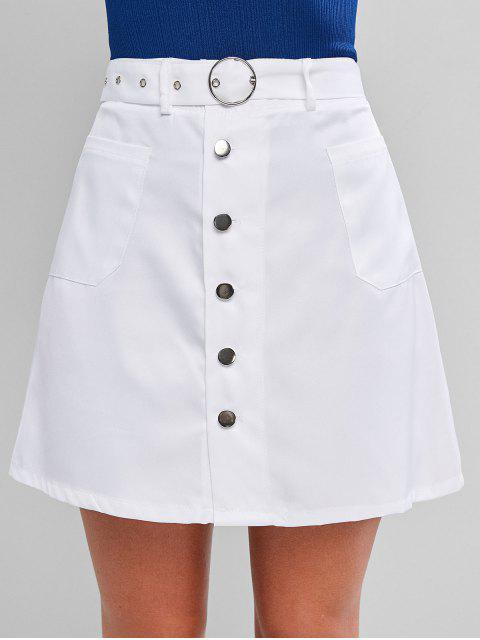 chic Pocket Button Fly A Line Belted Skirt - WHITE S Mobile