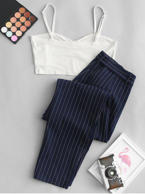 ZAFUL Set de Cami Top Corto con Cinturón y Estampado de Rayas - Azul de Medianoche M Mobile