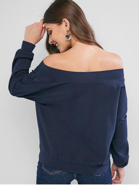 sale ZAFUL Off Shoulder Planet Print Drop Shoulder Sweatshirt - CADETBLUE XL Mobile