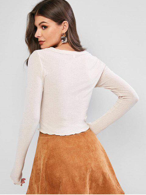 trendy ZAFUL Lettuce Trim Buttoned Front Ribbed Top - BEIGE S Mobile