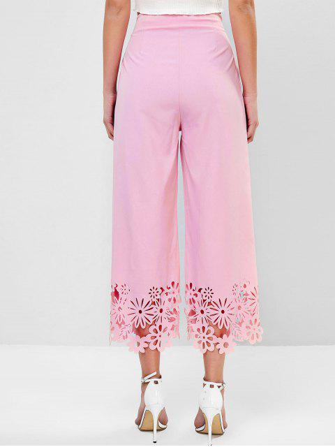 outfit High Waisted Knotted Laser Cut Wide Leg Pants - PINK XL Mobile