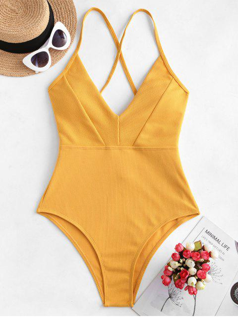 outfits ZAFUL Crisscross Ribbed One-piece Swimsuit - GOLDEN BROWN XL Mobile