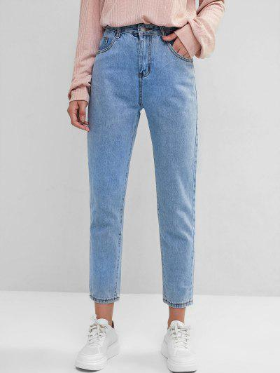 Basic Mom Jeans - Blue Xs