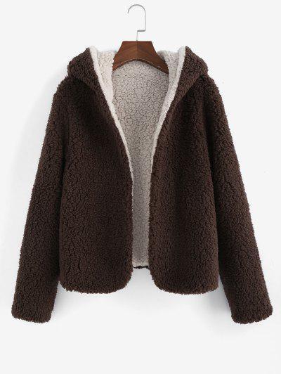 ZAFUL X Alexis Ricecakes Hooded Reversible Teddy Coat - Coffee Xl