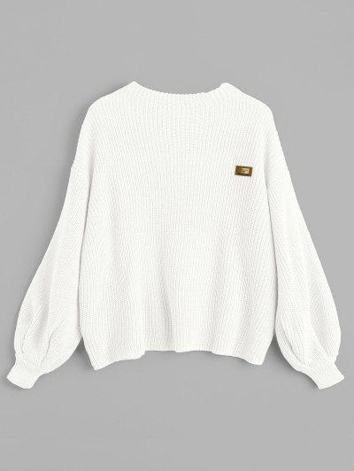 ZAFUL Oversized Badge Patched Pullover Sweater - White
