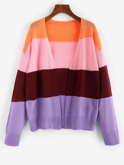 ZAFUL Colorblock Drop Shoulder Open Front Cardigan - Multi-d S