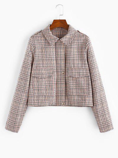 Checked Pocket Shirt Collar Coat - Multi-a Xl