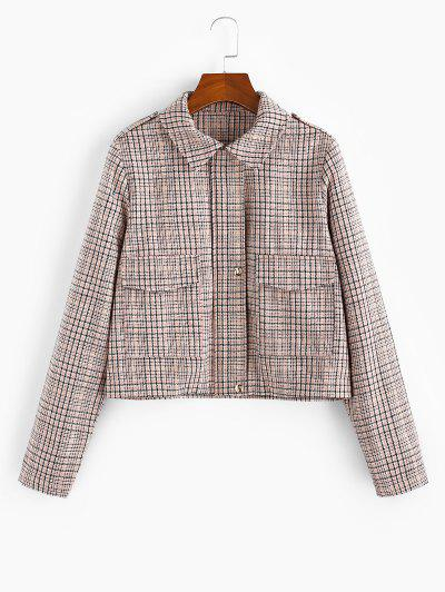 Checked Pocket Shirt Collar Coat - Multi-a L