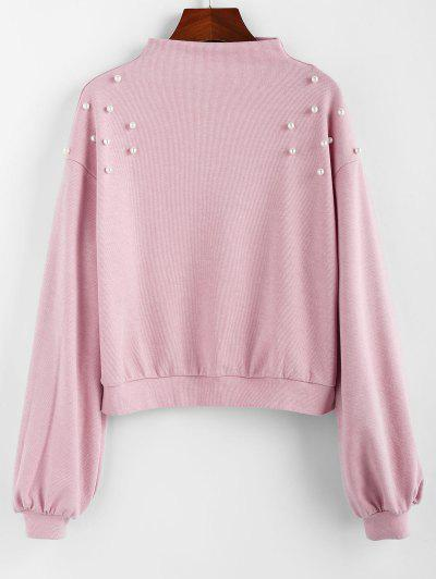 ZAFUL Faux Pearl Embellished Drop Shoulder Boat Neck Sweatshirt - Pink M