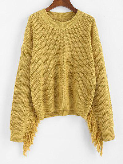 Fringed Drop Shoulder Sweater - from $14.52