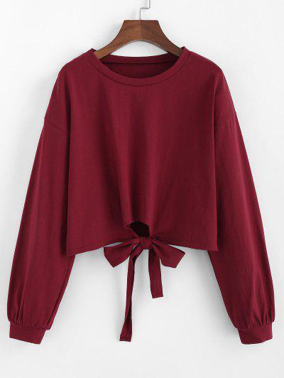 Drop Shoulder Bowknot Sweatshirt - from $12.97