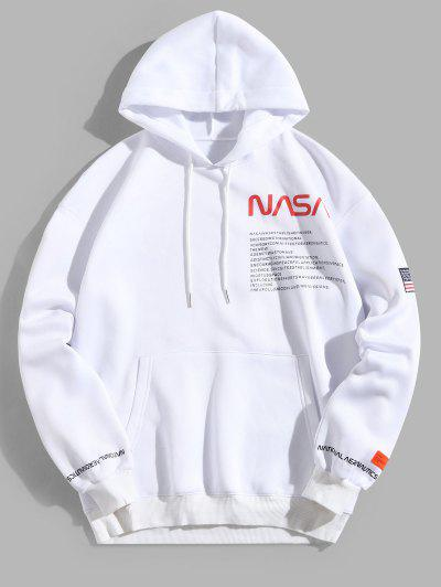 ZAFUL American Flag Patched Drawstring Pocket Hoodie - White M