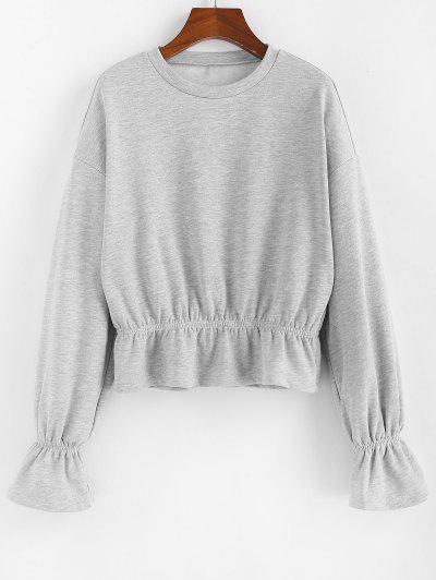 ZAFUL Poet Sleeves Ruffles Heathered Sweatshirt - Light Gray Xl