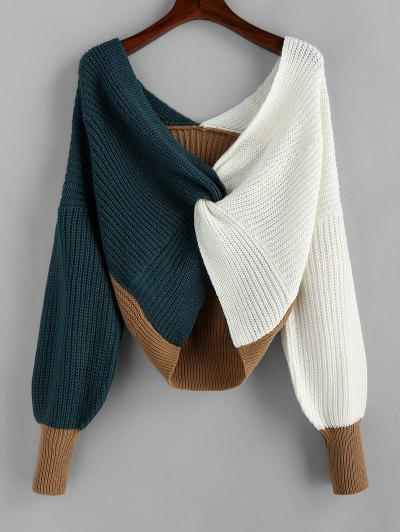 Plunge Colorblock Twist Sweater - Multi-a M