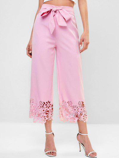 High Waisted Knotted Laser Cut Wide Leg Pants - Pink S