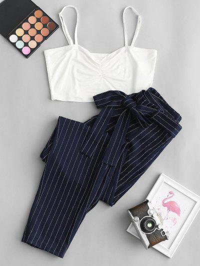 ZAFUL Cropped Cami Top And Striped Print Belted Pants Set - Midnight Blue L