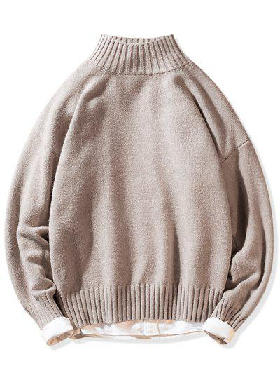 Solid Mock Neck Casual Pullover Sweater - Pink Xs
