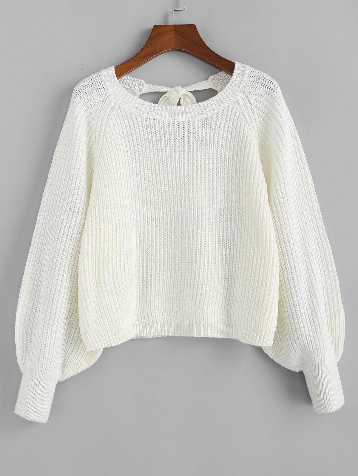 ZAFUL Knotted Back Lantern Raglan Sleeve Sweater