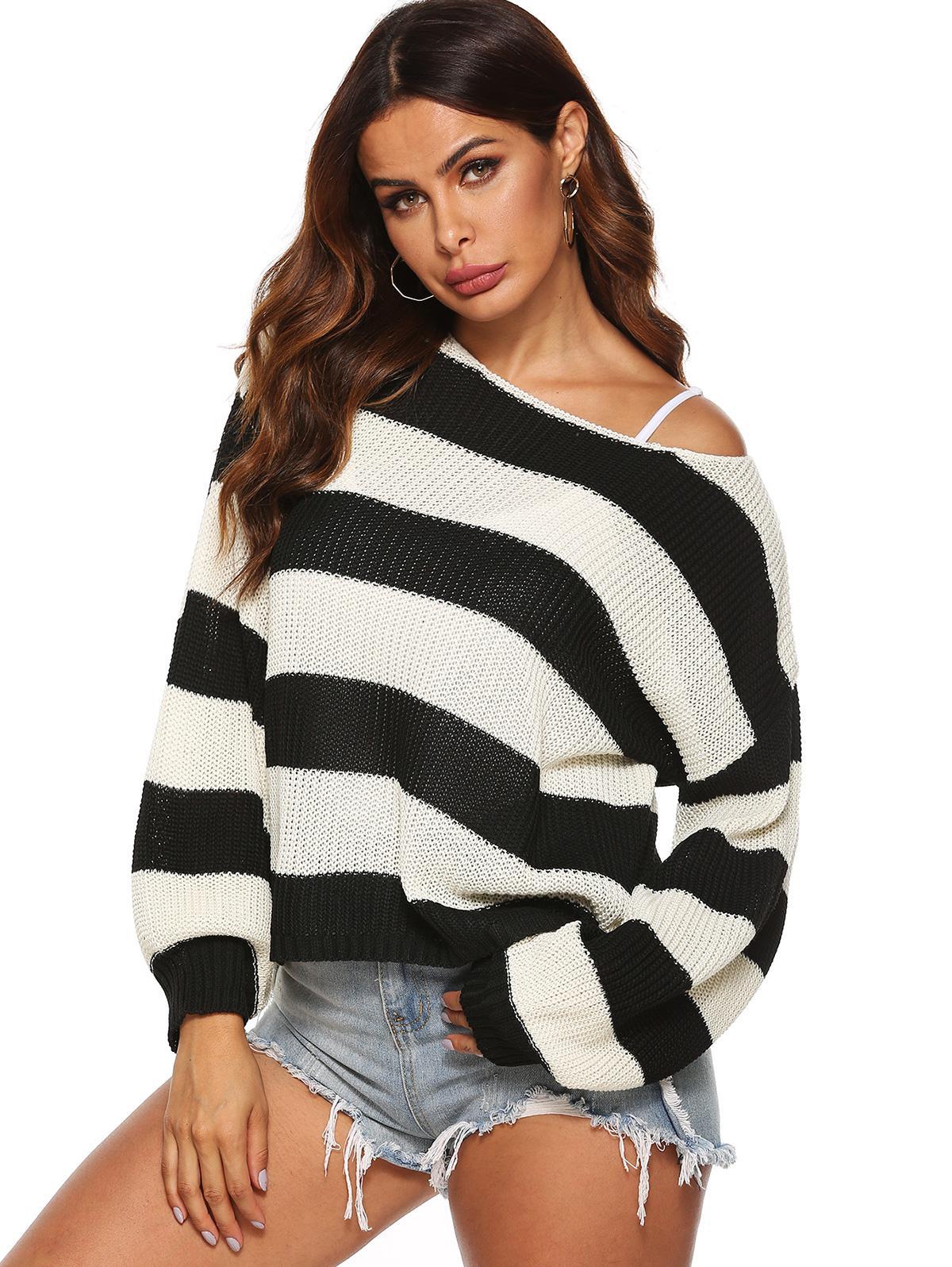 Drop Shoulder Loose Colorblock Stripes Sweater