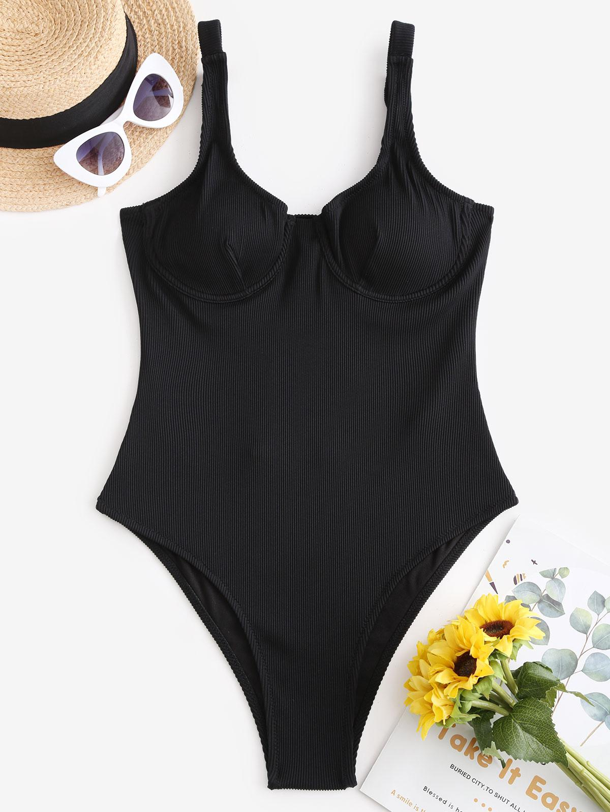 ZAFUL Textured Ribbed Underwire One-piece Swimsuit фото