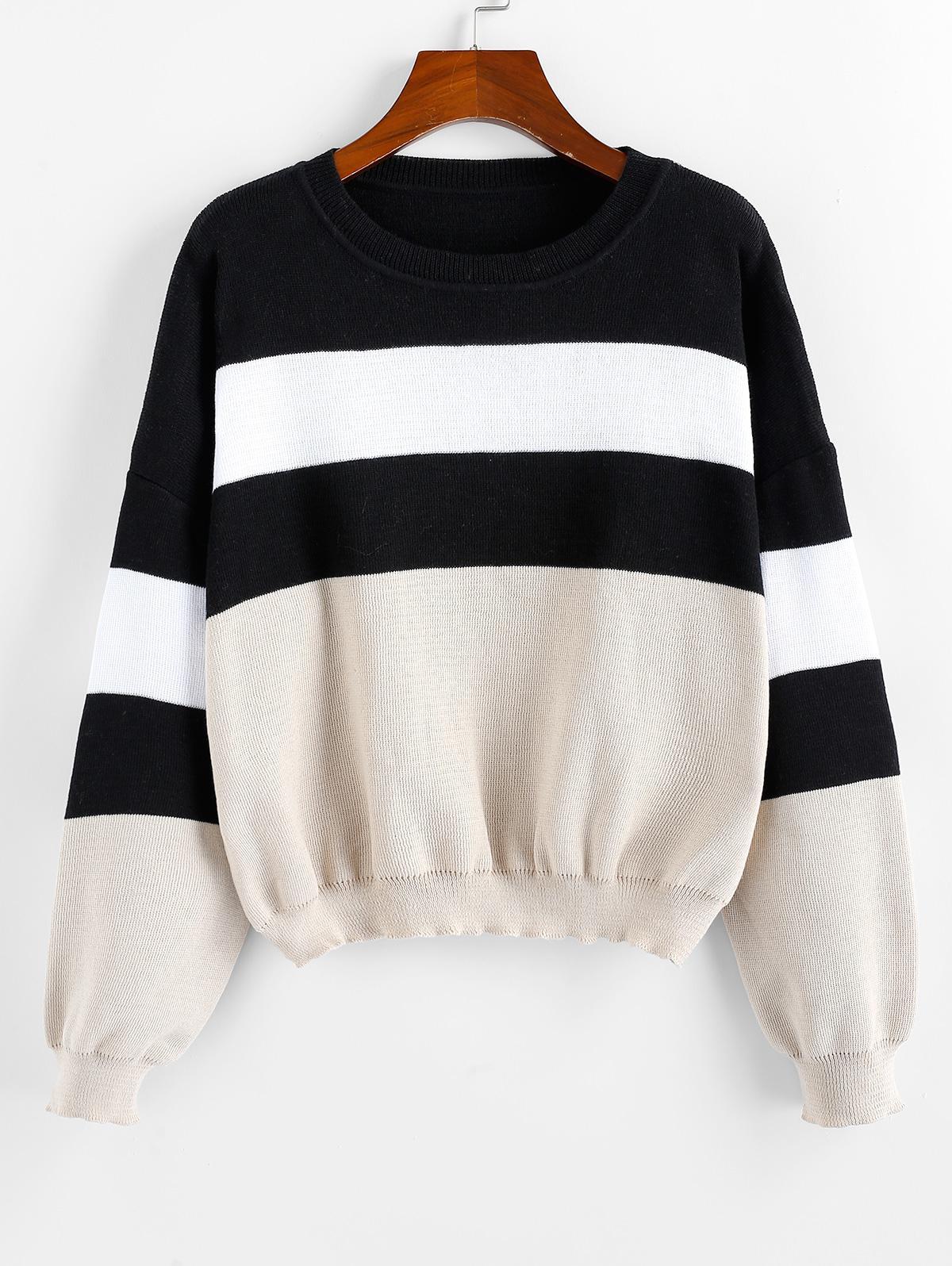 ZAFUL Colorblock Drop Shoulder Crew Neck Sweater