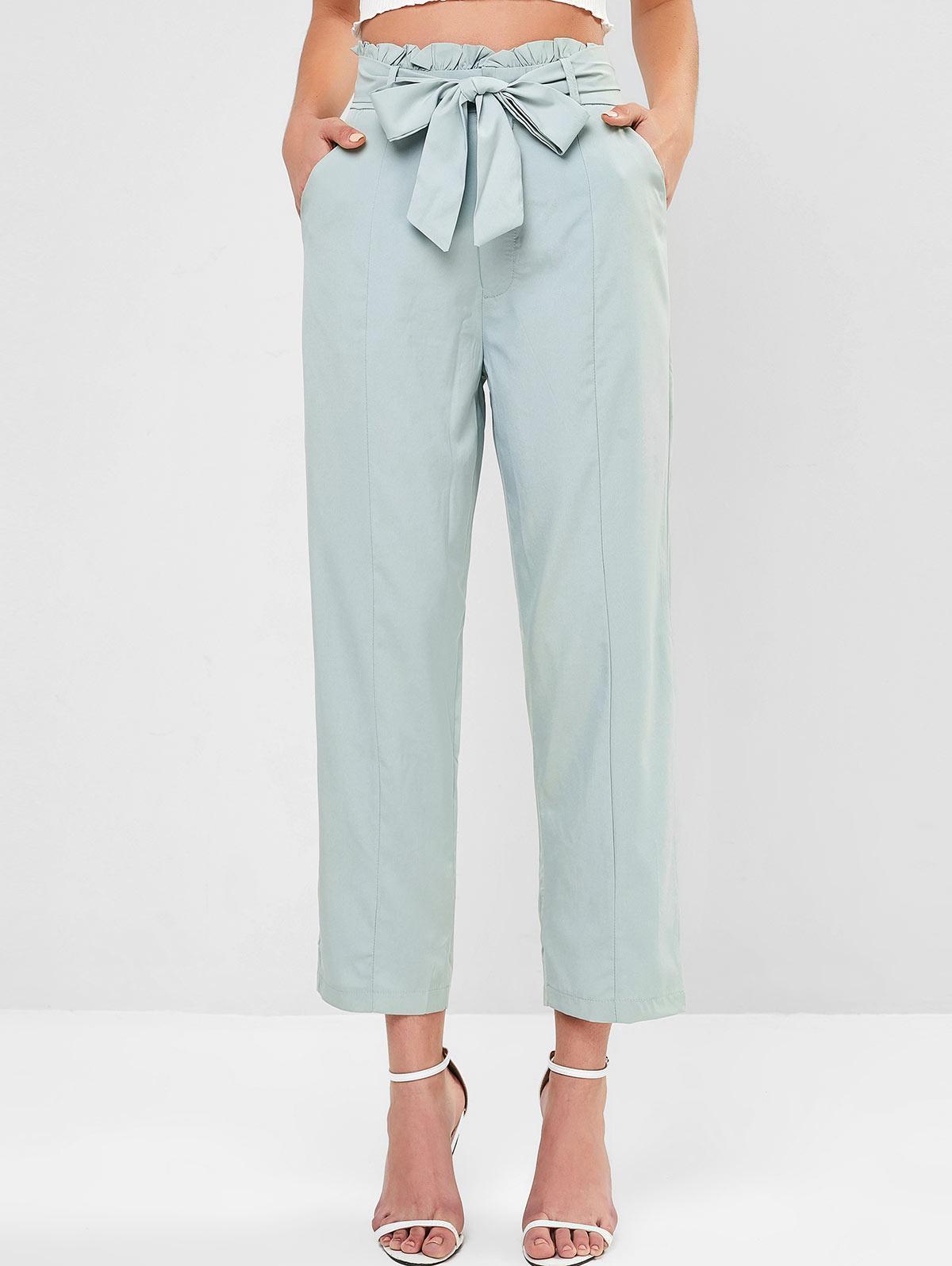 Pocket Peg Leg Paperbag Pants