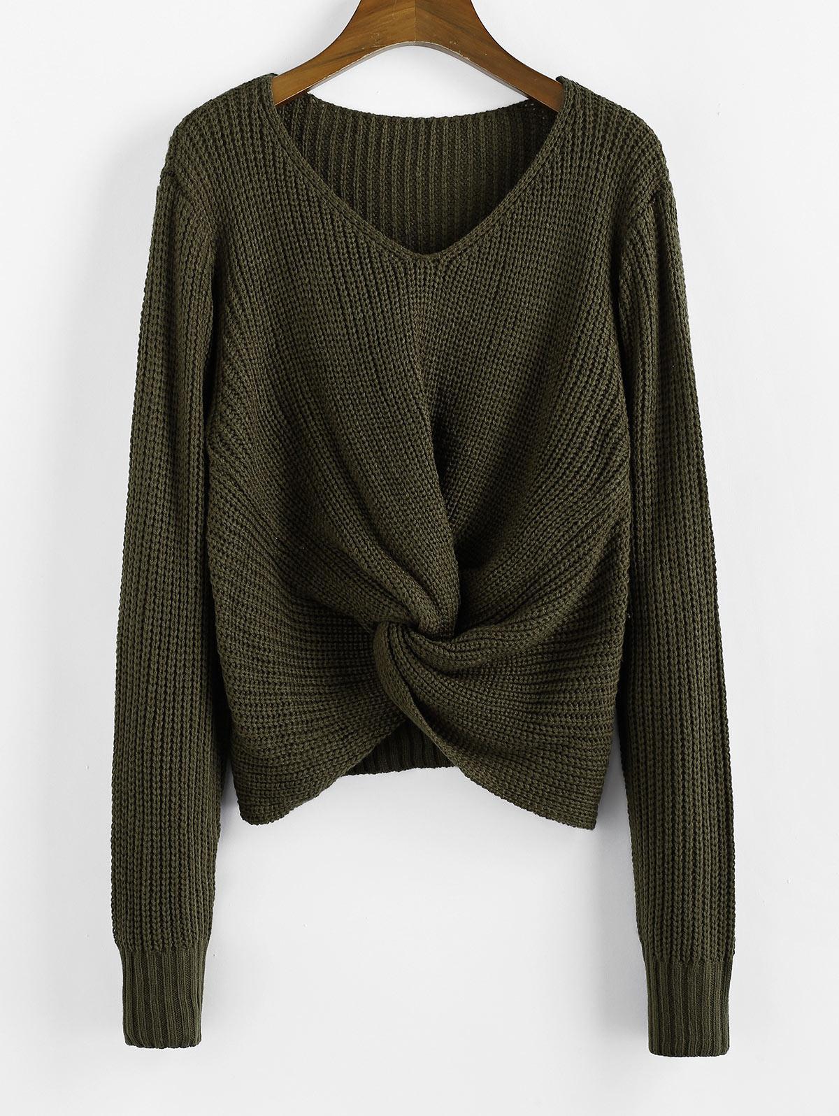 Twist V Neck Pullover Sweater