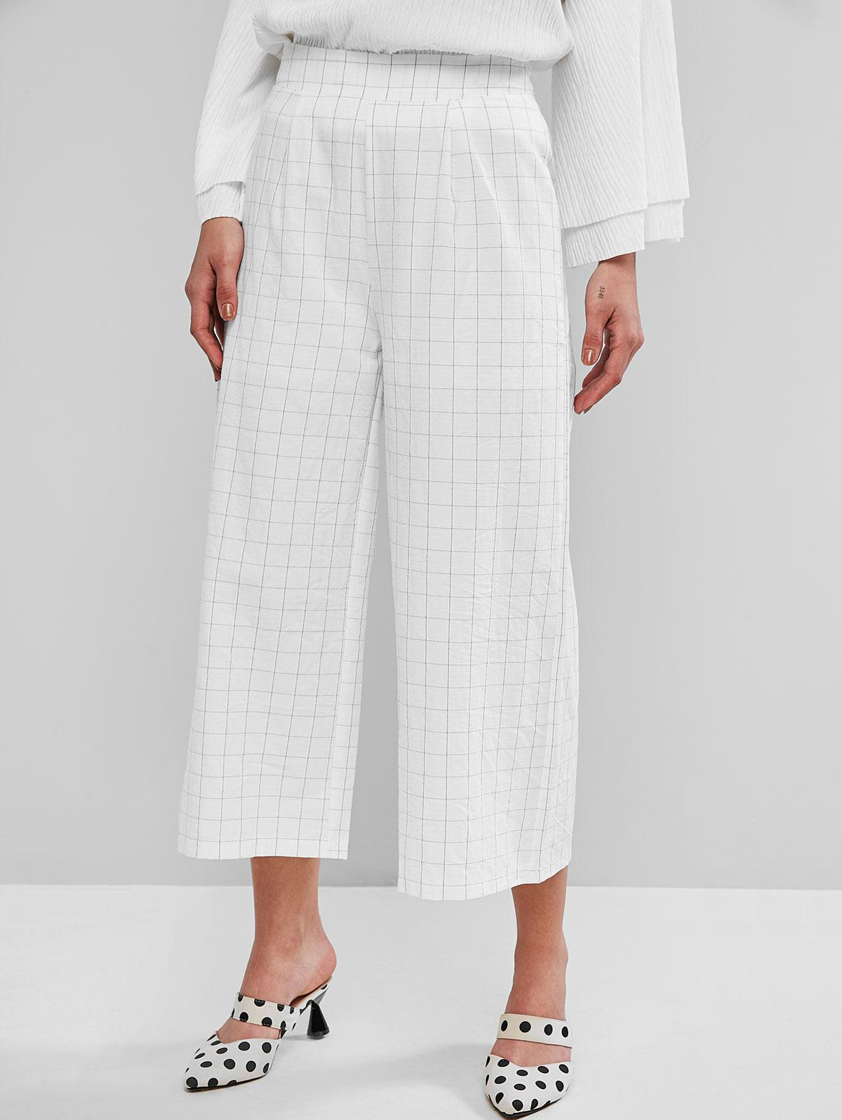 Plaid Wide Leg High Waisted Culotte Pants